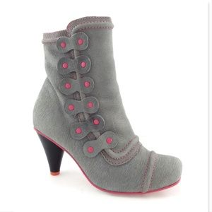FLY LONDON Gray Leather Pink Accent booties 38